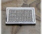 Austrian Swarovski Rhinestone Bling Silver Rimmed Clear Crystal Metal Business Card Case Holder