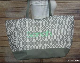 Monogrammed Beach Tote Bag -  Grey Lattice Print Personalized Overnight Bag Bridesmaid Gift