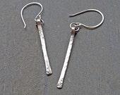 Bar Earrings, Silver Bar Earrings, Long Sterling SIlver Earrings , Gifts Under 20, Long Bar Earrings- Oxidized Silver Stick Dangle Earrings