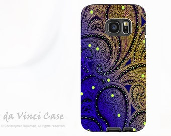 Purple Paisley Galaxy S7 Case - Premium Dual Layer Galaxy S 7 Case - Midnight Astral Paisley - Purple and YellowTough Case