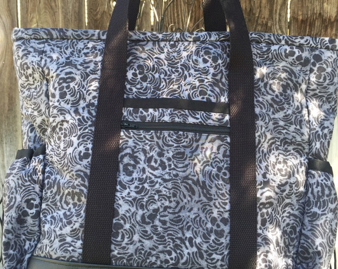 Leather Bottom Large Tote Bag with Pockets, Kitchen Sink Tote, Professional Tote, Travel Tote, Nurse Tote, Black and Grey Teacher Tote