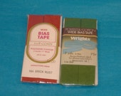 Vintage Cotton-Polyester Wide Bias Tape  - 2 Packages - Brick Rust, Avocado - 1 Inch Wide, 3 Yards Long - New in Package - Destash