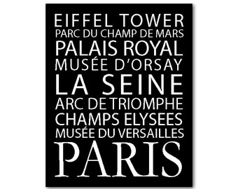 French Inspired Art -  Paris Metro Subway Sign - French Sign - Paris Poster - Paris Wall Décor - Wall Art - Subway Art - Typography Print