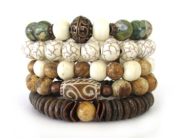 Women's Bracelet Stack with Jasper, Howlite, Rhyolite, Bone and Heishi Coconut Beads - Bohemian Bracelets - Women's Bracelets - WS1526