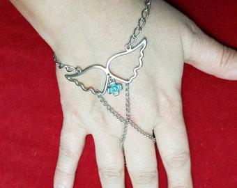 Angel wing Hand Chain Bracelet - Silver Slave Bracelet  - Harem bracelet - Belly Dancers Bracelet - Silver Finger Bracelet - Slave Ring