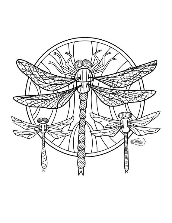 Dragonflies Adult Coloring page Digital stamp from ...