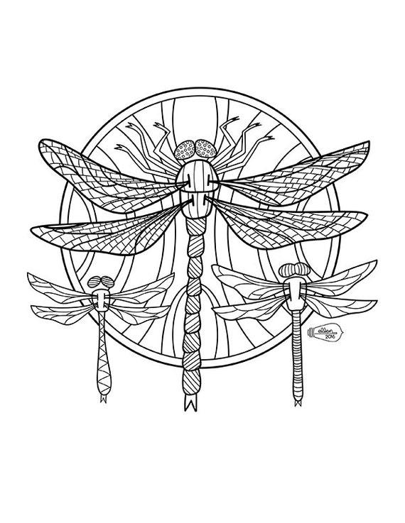 Dragonflies Adult Coloring page Digital stamp