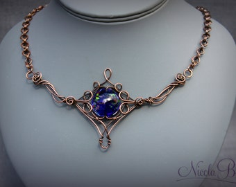 Copper and Lamp Work Glass Elven Wire Wrapped Necklace.