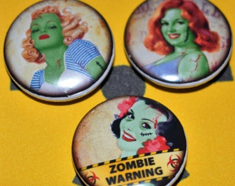 Zombie Pin Up Badges, Zombie Themed Gifts, Zombie Badges, Under a Fiver, Stocking Fillers, Horror Themed Gifts, Zombie Fan Gifts