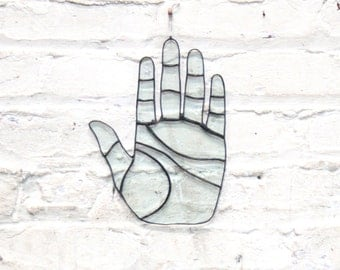 Large palm wall hanging - taro - wall art - stained glass - palmistry - recycled - upcycled