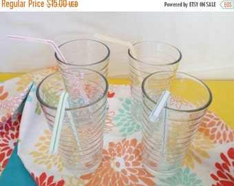ON SALE Vintafge Set of Four Glasses, Glassware, Barware, Glass, Summer, Retro, Mod