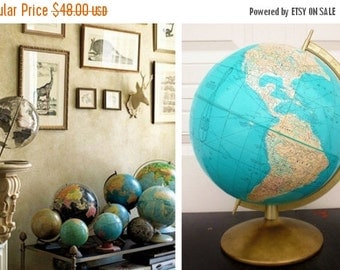 "ON SALE Rand McNally, 12"", World Globe, Vintage,  Mid Century Modern, Blue, Map, c. 1957, Metal Base"