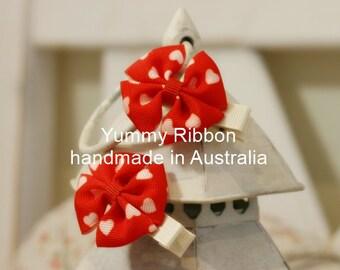 A pair Smart Red /mini hair bow / baby hair bow / hand made ribbon hair clip