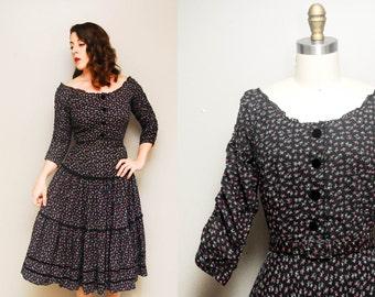 Vintage 1940s Henry Rosenfeld Black Floral Dress / Wide Scoop Neckline / Ruffled Full Skirt / Medium