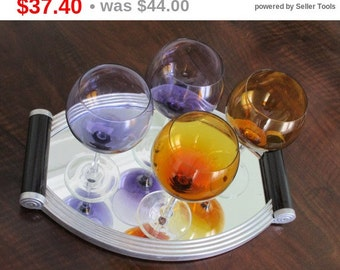 MOVING HOUSE Set of 4 Large Vintage Wine Glasses - Bordeaux  Glasses - Great Big Size - Purple and Amber -  Beautiful Amazing Colors - PE...