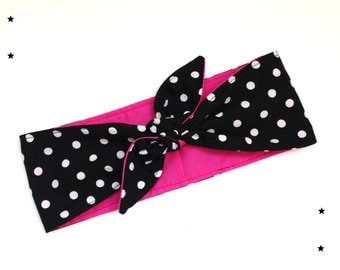 Rockabilly Head scarf head band Polka dots pink black