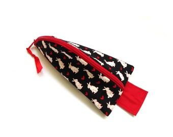 glasses case Alice white rabbit black zipper pouch
