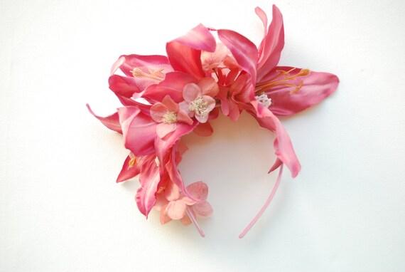 Blush Pink Exotic Flowers Bridal Headband, Beach Hawaiian Weddings Hair Accessories, Beach Weddings Bridal Headband, Pink Orchids Headband