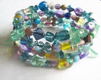 OOAK Memory Wire Bracelet: Assorted Glass Beads- Purple, Blue, Green Colors
