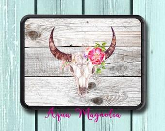 Bull Horns - Boho - Flowers - Skull - Trailer Hitch Cover - Car Accessory - Trailer Hitch