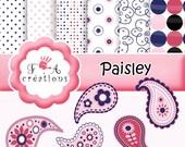 Digital paper, clipart paisley png BLUE,PINK,paper pack rétro,stripe,chevron instant download
