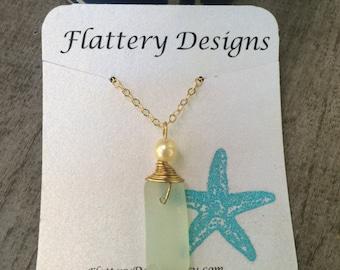 Hawaiian Sea Glass and Pearl Necklace