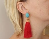 tassel earrings turquoise blue and red matte gold plated jewelry tassels dangle post stud unique jewelry