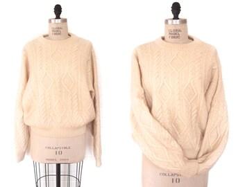 vintage cream WOOL FISHERMAN pullover knit sweater
