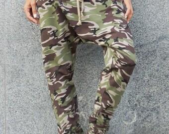 NEW Autumn 2016 Loose Casual  Military Drop Crotch Harem Pants / Extravagant Black Pants by AAKASHA A05069