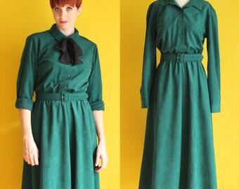 Vintage 80s Dark Green Dress - Long Sleeve Dress - Shirt Dress - Belted Warm Winter Dress - Maxi Dress - Full Skirt Dress - Size Medium