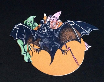 RARE Antique Dennison Halloween Cut Out Bat with Ghosts Ghouls 1920s Old Halloween Decor Display Collectible