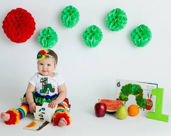 Very Hungry Caterpillar/First Birthday/Hungry Caterpillar outfit/CakeSmash/Rainbow LegWarmer/Birthday Bloomer/PhotoProp