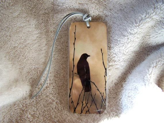 Black Crow Bookmark with White Leather Tassle. Generous Sized Bookmark.