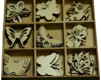Botanical Butterflies - Wood Die Cuts - Laser Cut Outs - Unfinished Embellishments - Wooden Box - 45 pcs