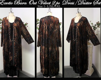 Designer 2 PC Dress/Duster Set in Exotic Burn Out Velvet. Size One fits L/XL/1XL