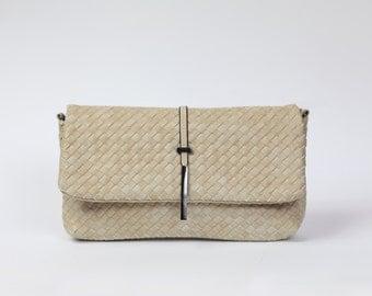 Cream Woven clutch|Vegan leather purse|Ivory crossbody handbag|DeZavuBoutique vegan sand clutch|Summer handbag