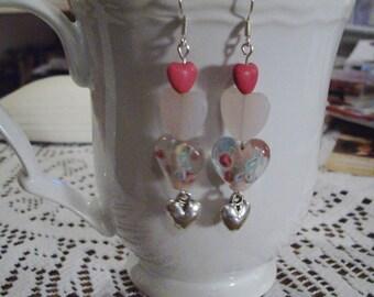 Pink Heart Earrings - Free Shipping