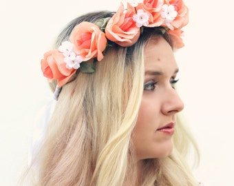 The Alani Crown | peach rose flower crown | floral crown | floral wreath | tropical flower crown | Frida Kahlo | Dia de los Muertos