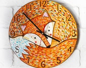 The Orange Fox Wall Clock, Modern wall clock with numbers, White wall clock, wood clock, orange home decor, for Office, Industrial style.