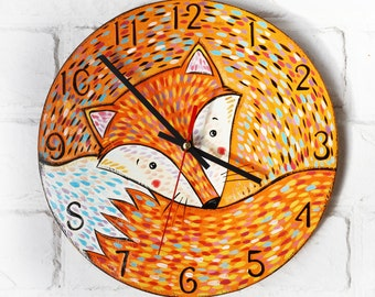 Orange Fox Wall Clock, Modern wall clock with numbers, wood clock, orange home decor, for Office, Industrial style