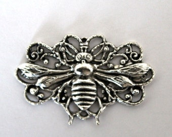 3 Whimsical Antique Silver Flying Bee Charm/Pendant