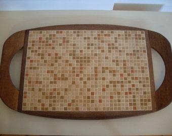 60's retro vintage mosaic tile serving tray  - brown - tan - 3/8 inch tiles -