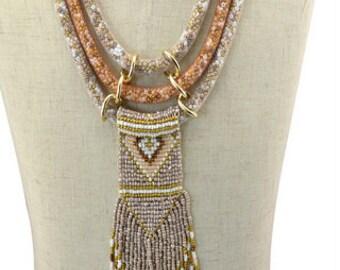 Amazing Art!!!Beaded three strand mixed medium statement Necklace