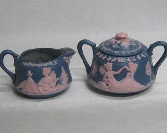 Antique Schafer & Vater Jasperware Creamer and Sugar Dark Blue with Pink Fairies Cherubs