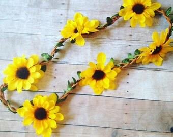 Sunflower Crown | Sunflower Halo | Yellow Sunflower Headband | Sunflower Halo Crown | Sunflower Boho Crown