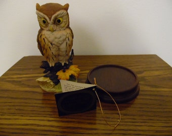 "Great Horned Owl by Sadek Import Co. 50th Anniversary 1936-1986 Edition with original tag - Porcelain ""Andrea"" Great Horned Owl"