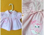 Vintage baby girl dress with kitty/ retro baby dress, kitschy baby dress size 0/3M