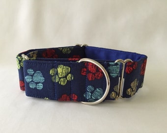 """1.5"""" Multi Paws on Navy Martingale Collar"""