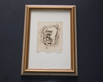 Vintage 1970s Framed Raccoons Pencil Sketch Print With Sepia Tones Titled FISHING Artist Signed No 25 Of 100