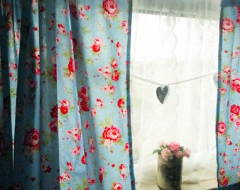 Shabby Chic Curtains Blue Rosali Window Treatments Floral